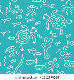 Seamless pattern. Vector Doodle background. Underwater world. Two Sea Turtle, fish, underwater plants.