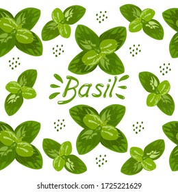 Seamless pattern with vector drawings of handmade basil sprigs on a white isolated background. Basil is flat, cartoony. Registration of cards, menus, banners, printing on fabric, covers