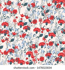 Seamless pattern Vector floral design with roses . Romantic background print for fabrics and wallpapers.