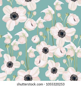 Seamless pattern Vector floral watercolor style design: garden powder white pink Anemone flower. Rustic romantic background print. Good for wedding invitation, greeting card. Mint background.