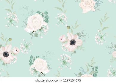 Seamless pattern Vector floral watercolor style design: garden powder Anemone flower, white roses silver Eucalyptus branch, succulent, greenery leaves. Rustic romantic mint background print.