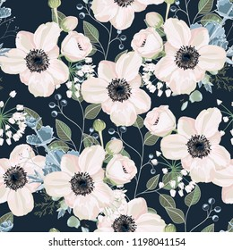 Seamless pattern Vector floral watercolor style design: garden powder Anemone flower silver Eucalyptus branch, succulent, greenery leaves. Rustic romantic background print. Dark blue background.