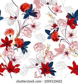Seamless pattern vector a garden coloful and bright flowers are blooming and gentle mix with outline stoke on white  background,for fashion fabric and all prints