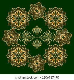 Seamless pattern of vector golden elements on a green background.