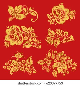 Seamless pattern vector in with hohloma decor elements. Classic Russian style in red and gold colors. Khokhloma floral ornament