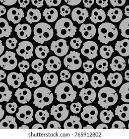 Seamless pattern - vector illustration of gray skulls on black background