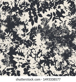 Seamless pattern, vector illustration, leaves shadows silhouette above in the sky, trace of european treen, such as ash, rowan, maple. Black and white version, 1 color seamless print on any surface!