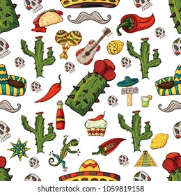 seamless pattern vector illustration on isolated background Mexican design elements cacti, sombrero, and other Mexico country symbols, white background