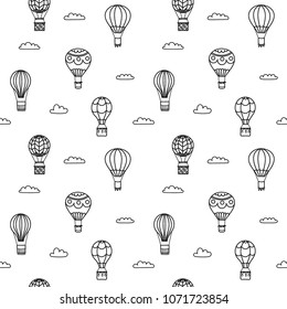 Seamless pattern of vector illustration of outline hot air balloon on sky with clouds and birds. Isolated icon of cartoon air balloon. Hand drawn for print, card, flyer, fabric, textile, poster.