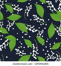 Seamless Pattern with Vector Lilies. Cute Flower Background with Lily of the Valley. White Bells with Green Leaves. Seamless Pattern with May Lilies for Tile, Wedding, Fabric, Textile, Cloth Printing.