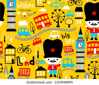 Seamless pattern vector with london guard cartoon