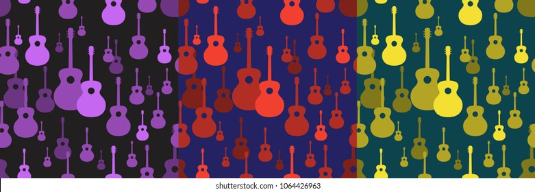 Seamless pattern. Vector music pattern with guitars. Abstract textured background design. Music symbols. Classic guitar. Classical musical instrument. Jumbo.