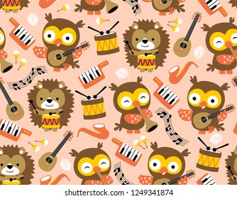 seamless pattern vector of musical instruments with cute animals cartoon