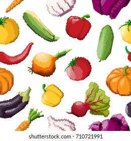 Seamless pattern of vector pixel vegetables on white background