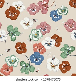 Seamless pattern in vector Retro ans sweet pansy flower  with dragonfly and bumble bee ,Design for fashion,fabric,web,wallpaper,and all prints on light beige background color