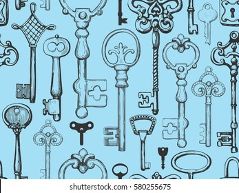 Seamless pattern. Vector set of hand-drawn antique keys. Illustration in sketch style on blue background. Old design.