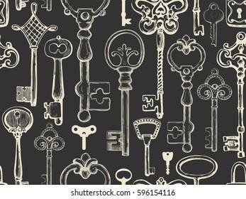 Seamless pattern. Vector set of hand-drawn antique keys. Illustration in sketch style on black background. Old design.