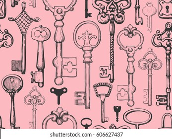 Seamless pattern. Vector set of hand-drawn antique keys, keyholes and locks. Illustration in sketch style on white background. Old design.