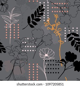 Seamless pattern vector silhouette outline mix with polka dots and hand drawn sketch for fashion fabric and all prints on grey background ,Modern style