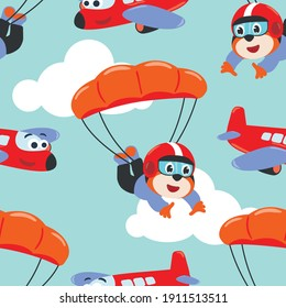 Seamless pattern vector with skydiver tiger, parachute and planes. Design concept for kids textile print, nursery wallpaper, wrapping paper. Cute funny background.