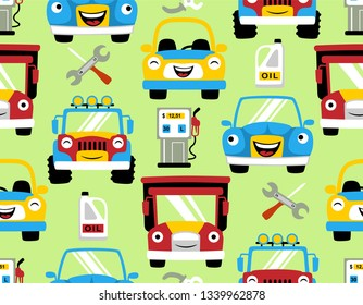 seamless pattern vector with smiling vehicles cartoon