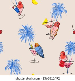 Seamless pattern vector Trendy colorful tropical vacation mood in hand drawn palm trees ,parrots birds,cocktail and summer fruits on light grey background color