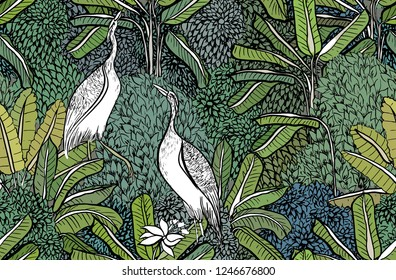 Seamless Pattern Vector Tropical Jungle Exotic Wild Life Egret Birds Love Couple in Tropics Forest Banana Trees Green Leaves Background