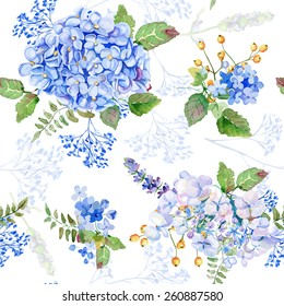 Seamless pattern. Vector watercolor blue hydrangea, lavender. Illustration of flowers. Vintage. Can be used for gift wrapping paper, birthday, mother's day. Gentle, cute background.