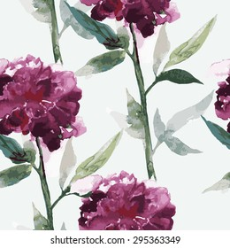 Seamless pattern with vector watercolor peonies,