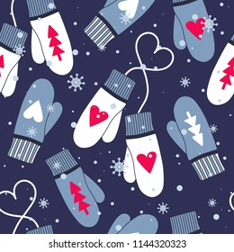 Seamless pattern vector with winter mittens. Colorful overlapping backdrop with snowfall. Hand drawn illustration design. Decorative cute wallpaper, good for printing. Xmas time