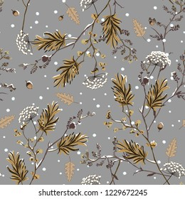 Seamless pattern vector of winter snow in the garden flower delicate soft and beautiful mood design for fashion,fabric,wallpaper,and all prints on winter grey background color