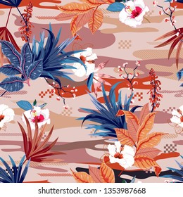 Seamless pattern vectorTrendy tropical forest ,palm leaves and exotic flowers on camou flage,design for fashion,fabric,wallpaper,and all prints