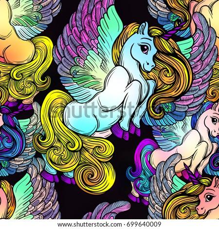 Seamless Pattern Vector Unicorns Wings Beautiful Line Stock Vector