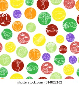 Seamless pattern with vegetables in colored circles on a white background. Vector illustration for your design