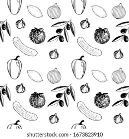 Seamless pattern of vegetables and fruit  garlic,  olive sprig,  tomato, bell pepper, lemon, onion and cucumber, vector illustration, hand drawing