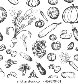 Seamless pattern with vegetables. Onion, tomato, pumpkin, cabbage, cucumber, beet, eggplant, potato, broccoli, chili, zucchini, squash, garlic elements. Black and white.