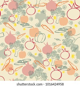 seamless pattern vegetables tomato carrot peas broccoli pepper red orange green yellow