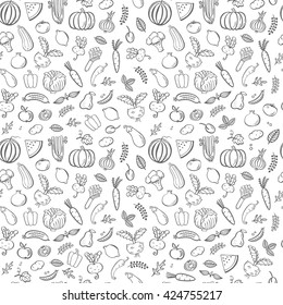Seamless pattern with vegetables. Vector black and white illustration. Food background which can be used as web site backdrop,store or farmer's market decoration, food packaging.