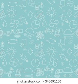 Seamless pattern with ventilation and conditioning system icon, line art.