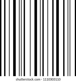 Seamless Pattern Vertical Stripe. Black and White
