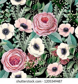 Seamless pattern with victorian roses, anemones, eucalyptus and other branches.