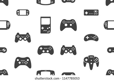Seamless pattern with Video games joystick. Silhouette Black. isolated on white background