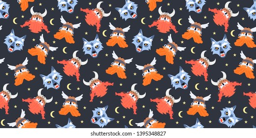 Seamless pattern with viking, Thor god of thunder and fenrir monstrous wolf heads. Vector illustration in a cartoon flat style for wrapping, textile, fabric, wallpaper and other decorations for kids.