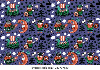 Seamless pattern with vikings, dragon and ship in cartoon style. Funny vector illustration for kids