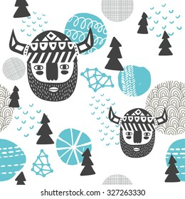 Seamless pattern with vikings faces. Vector repeated background of northern woodland.