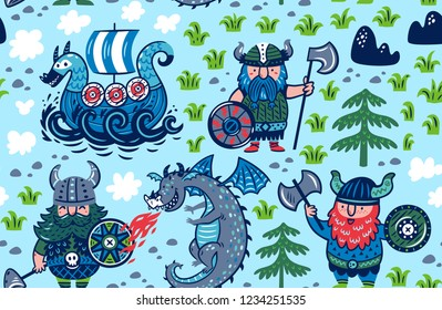 Seamless pattern with vikings, ship and dragon in cartoon style. Vector illustration for children.