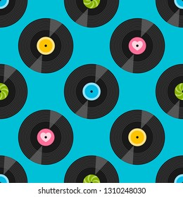 Seamless pattern with vinil records