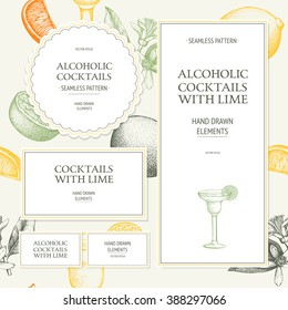 Seamless pattern with vintage alcoholic cocktails sketch with lime. Lime hand drawn drinks background for bar or restaurant menu. Vector template