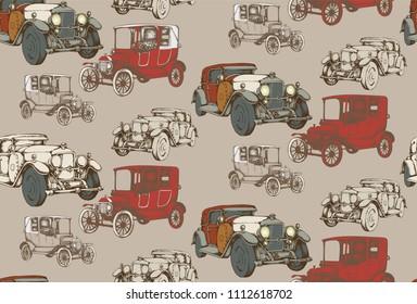 Seamless pattern of vintage avto. Engraved style. Vector illustration