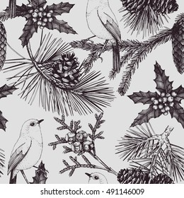 Seamless Pattern. Vintage background with hand drawn conifer trees and bird. Vector winter design for Christmas or New Year celebration